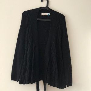 Anthropologie Black Cable Sweater Jacket Size XS